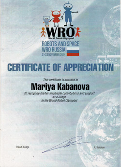 Сертификат судьи WRO
