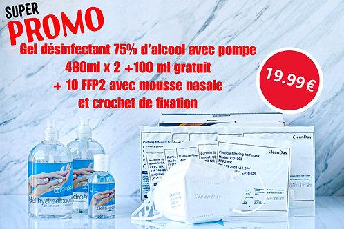 Super promo gel 480mlx2+100ml gratuit/gratis+10 pcs x FFP 2 masques/maskers