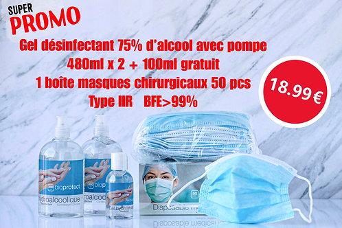 Super promo gel 480mlx2+100ml gratuit/gratis+masques/maskers 50pcs
