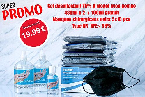 Copie de Super promo gel 480mlx2+100ml gratuit/gratis+masques/maskers 50pcs