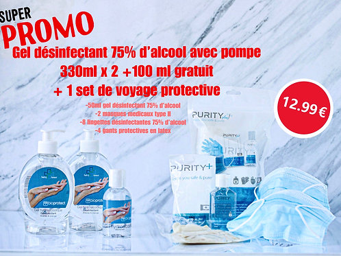 Super Promo - Gel désinfectant 330mlX2+100ml Gratuit+Set de voyage