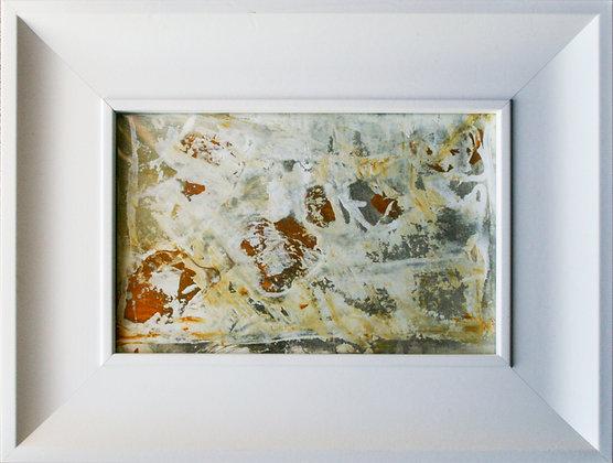 kleinformatiges abstraktes Kunstwerk mit Gelb in weißem Rahmen