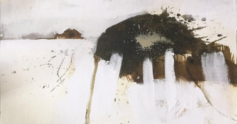 abstraktes Bild auf Zellstoffplatte von Sylvia Galos weiß, Brauntöne Inv.Nr.0453.JPG