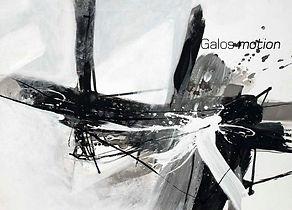Katalogtitelseite mit abstraktem Kunstwerk in schwarzweiß, Katalogbezeichnung Galos motion