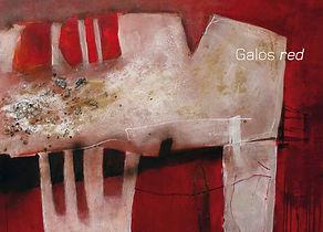 Katalogtitelseite mit abstraktem Kunstwerk in Rot, Katalogbezeichnung Galos red
