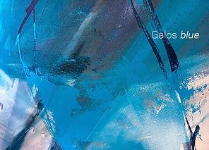 Katalogtitelseite mit abstraktem Kunstwerk in Blau, Katalogbezeichnung Galos blue