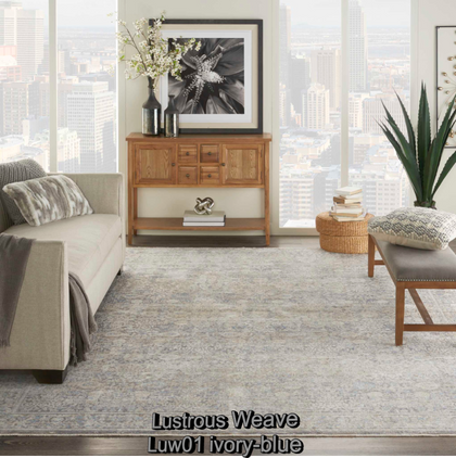 Nourison lustrous weave luw01 ivory-blue