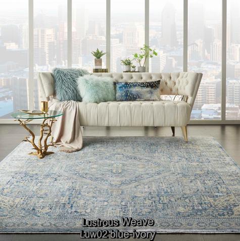 Nourison lustrous weave luw02 blue-ivory