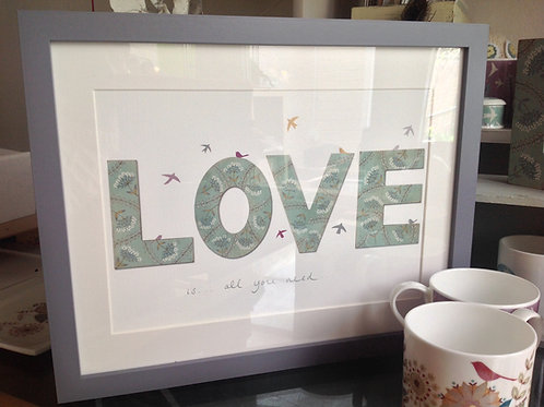 "Personalised""LOVE"" Print with birds and text"