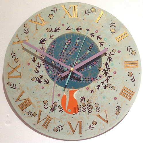 """Foxy and Birds"" Large Clock"