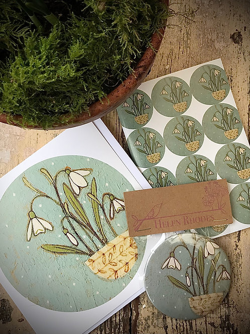 ONLY 3 AVAILABLE  Snowdrop greeting card, notebook and pocket mirror