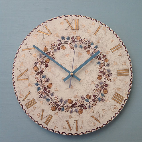 """Acorn Garland"" Large Clock"