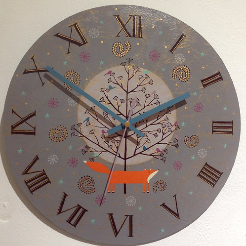 """""""Foxy and Full Moon"""" Large Clock"""