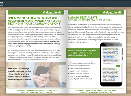 Free eBook for Healthcare Providers Highlights Role of Texting for Resuming Operations