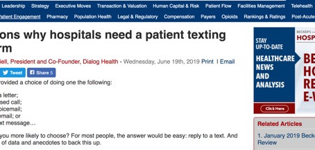 Brandon Daniell Writes About Patient Texting for Becker's Hospital Review