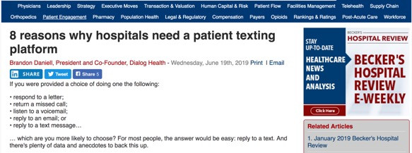 8 reasons why hospitals need a patient texting platform - article in Becker's Hospital Review