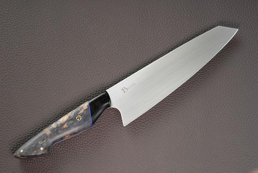"8"" Gyuto Chef Knife - Stabilised Blue Maple Burl and Micarta"