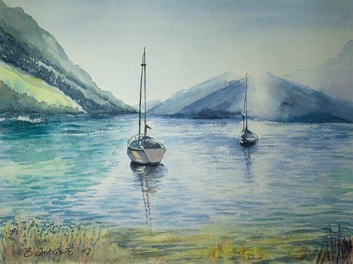 Boote auf dem Silsersee