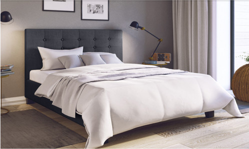 King Size Tufted Linen Fabric Bed Frame (Freya Collection, Charcoal)