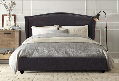 Double size upholstered studded wing bed frame allegra for Studded bed frame