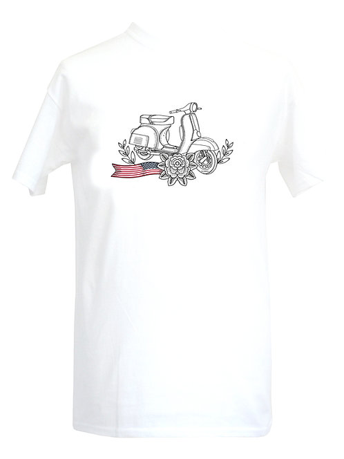 Vespa USA White Flower Tattoo Tshirt