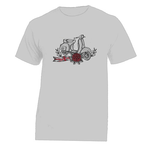 Vespa Great Britain Red Flower Tattoo Tshirt without banner