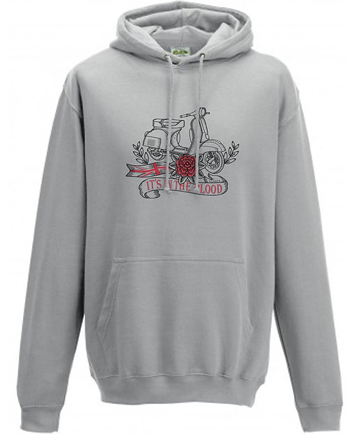 It's In The Blood/Vespa Great Britain Red Flower Hoodie