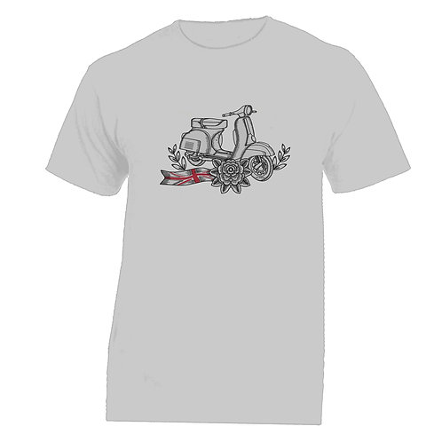 Vespa Great Britain White Flower Tattoo Tshirt without banner