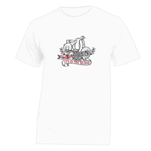 Vespa Great Britain White Flower Tattoo Tshirt