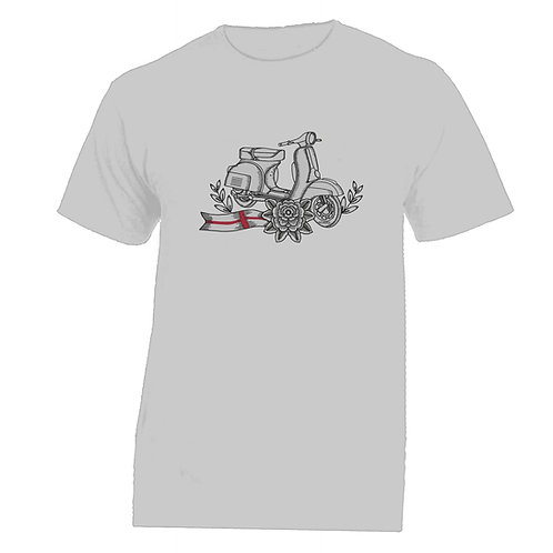 Vespa England White Flower Tattoo Tshirt
