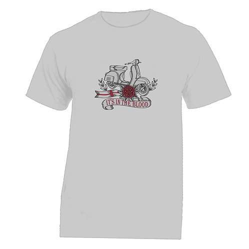 It's In The Blood/Vespa England Red Flower Tattoo Tshirt