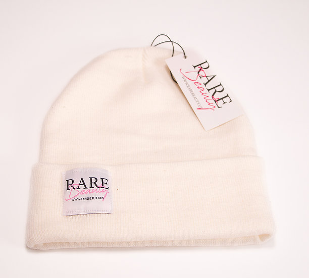 Cream White RARE BEAUTY Soft Long Knit Beanie