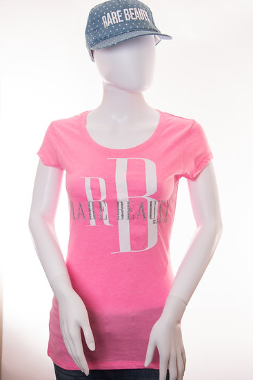 Pink Rare Beauty Glitter Tee w/ solid White RB