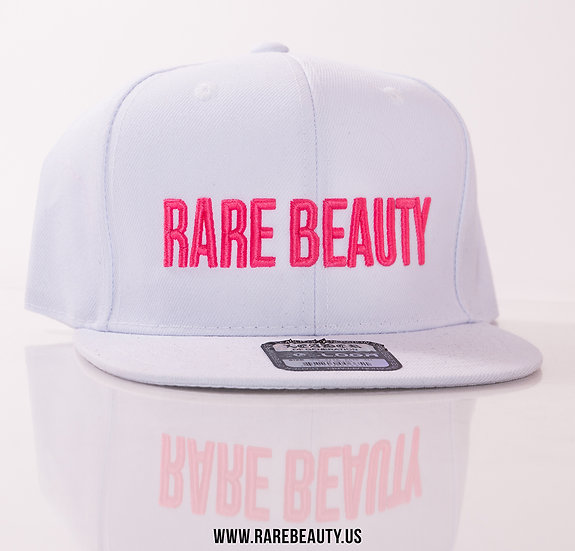 One-of-a-kind Pink RARE BEAUTY on White Snapback