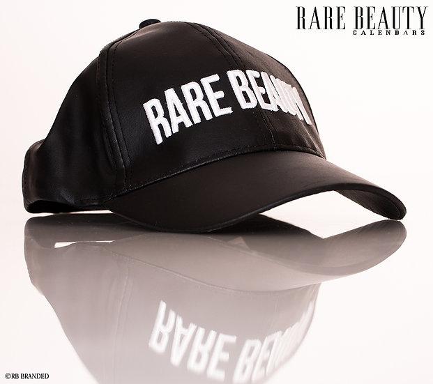 Black Faux Leather 3D Stitch RARE BEAUTY HAT