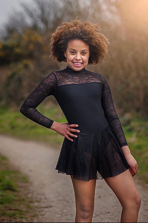 Black Lace Lyrical Skirt Leotard