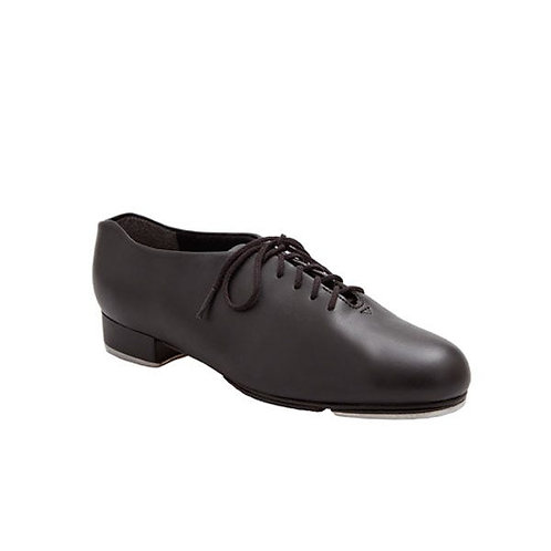 Boys' black PVU tap shoes with fitted toe and heel taps