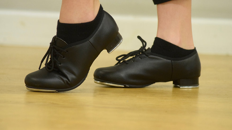 Black leather lace up low heel tap shoes