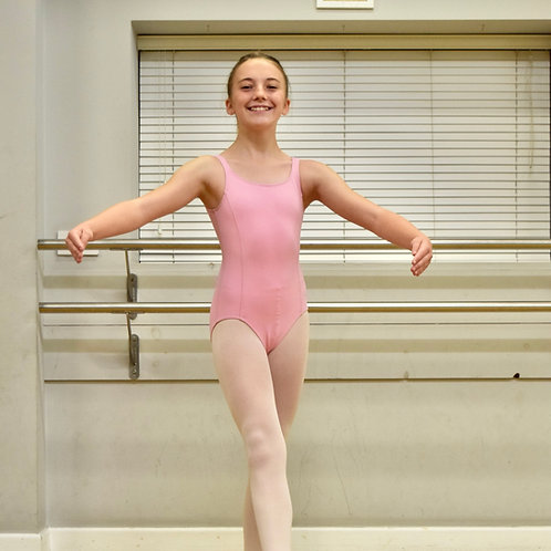 Grade 1 sleeveless pale pink leotard