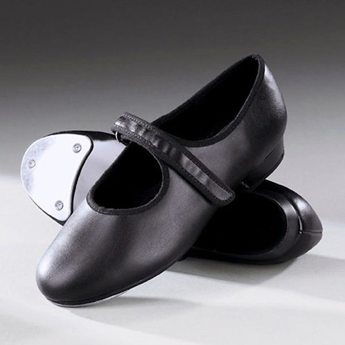 Tots' black velcro tap shoes with fitted toe taps