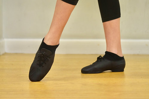 Black leather full sole lace up jazz shoes