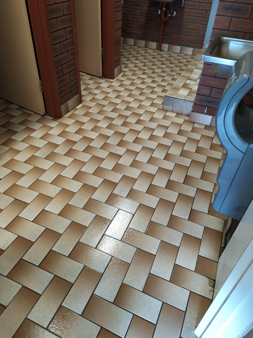 Toilet block floor after scrubbing.
