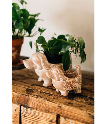 Terracotta Dog Planters Small & Large