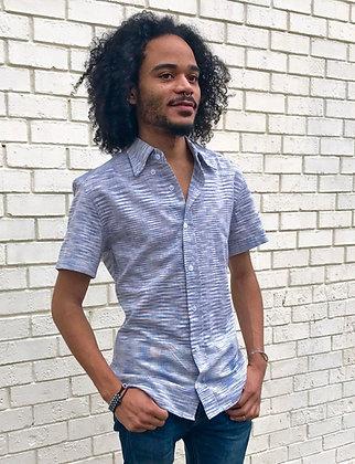 Light Blue Ikat Men's Button Down Shirt