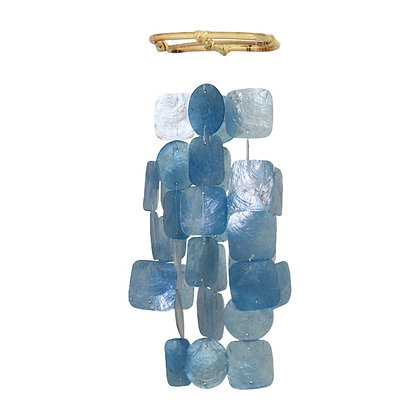 Small Square Capiz Wind Chime – Blue