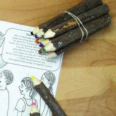 Carved Pine Wood Crayons - 10 Pack