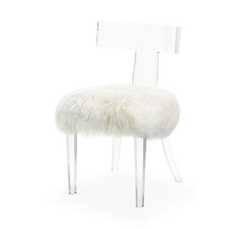 Tristan Klismos Chair - Ivory Sheepskin