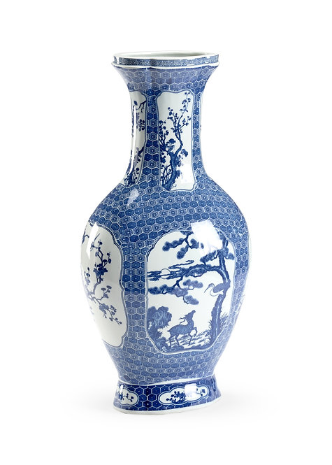 Blue And White Stag Vase
