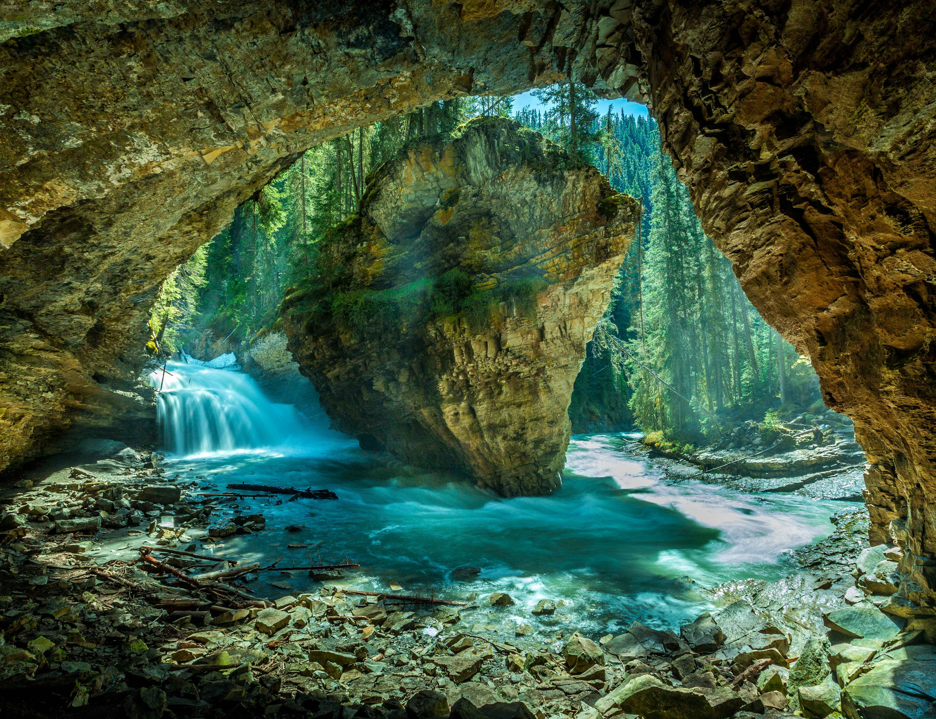 Calgary Landscape Photographer - Commercial prints - Johnston Canyon Alberta - Banff Teardrop Waterfall