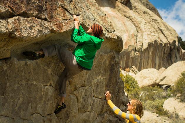 Josh bouldering at the City of Rocks